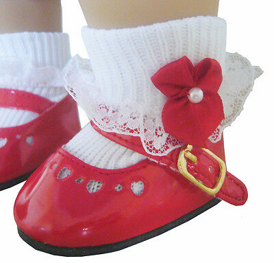 """For 18"""" American Girl Doll Clothes Christmas Red Patent Shoes & Bow Socks"""