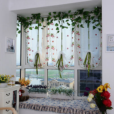 Pastoral Tulle Roman Window Curtain Embroidered Strawberry Kitchen Living Room