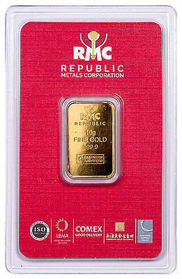 Republic Metals Corporation 10 g Gold Bar (Sealed with Red Assay Card) SKU47113