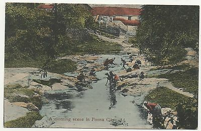 Printed P/C India A Morning Scene in Poona City, Bathing in River 1914 Period