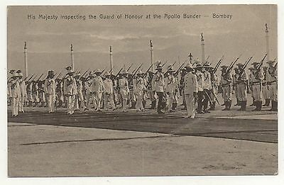 Printed P/C India His Majesty inspecting Guard Honour at Apollo Bunder Bombay