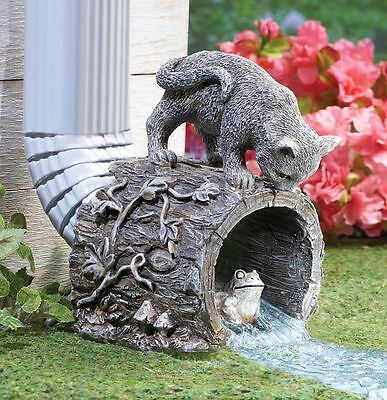 Kitty Cat Statue Chasing Frog Outdoor Garden Downspout Sculpture NEW