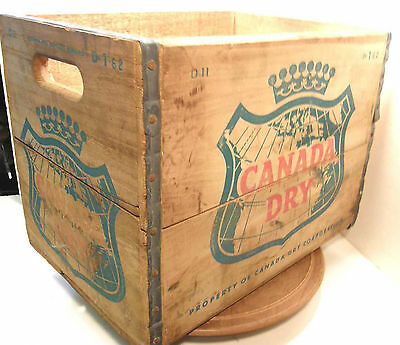 Vintage 1962 Canada Dry Advertising Wooden Crate Box