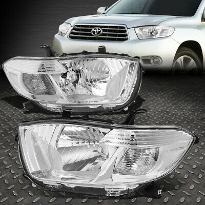For 2008-2010 Toyota Highlander Pair Chrome Housing Clear Corner Headlight/lamps