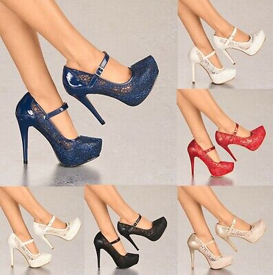 Ladies Lace Embellished Platform High Heels Mary Jane Pumps Shoes Uk Sizes 3-8