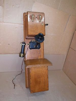 Stromberg-Carlson 2-Box Oak Wood Magneto Wall Telephone