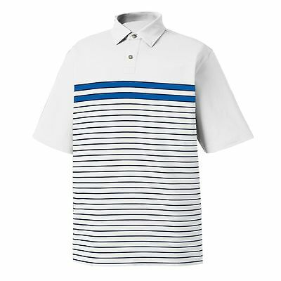 FootJoy Lisle Engineered Chest Band Self Collar Polo WhiteFrench Blue/Navy Large
