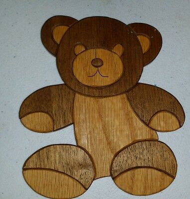 Wooden Teddy Bear Wall Art  Childs Room Nursery Decor Item Wood Well Made