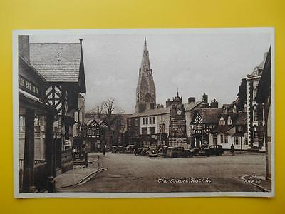 The Square RUTHIN Denbighshire c1940s Shops Pubs Old Cars Church