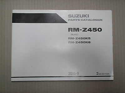 Suzuki RMZ 450 RMZ450 K5 K6 genuine parts catalogue 9900B-30190-010 USED