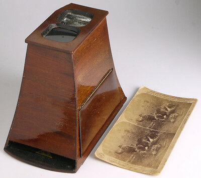 Brewster Style Wooden Stereoscope+card _antique viewer stereo f/slides&prints_3D