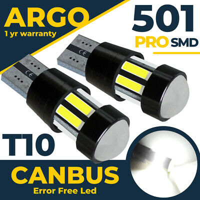 2 X Error Free Canbus Cree 501 Smd Led Sidelight White Bulbs Xenon T10 W5W 194