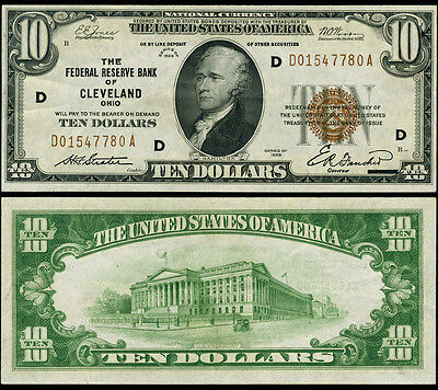 FR. 1860 D $10 1929 Federal Reserve Bank Note Cleveland AU