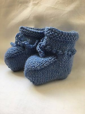 BABY BOOTIES PURE LAMBSWOOL SKY BLUE HAND  KNITTED 0 to 3 months Boy NEW