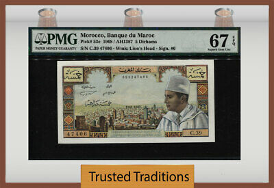TT PK 53e 1968 MOROCCO 5 DIRHAMS PCGS 67 PPQ SUPERB GEM TOP POP FINEST KNOWN