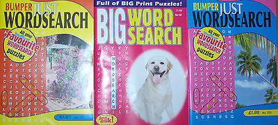 3 Bumper Word Search Magazines Most With 100+ Puzzles Solutions In Back (Set 52)