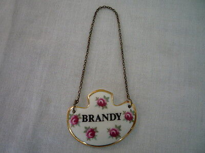 Vintage Royal Adderley Bone China Roses Decanter Label for Brandy with chain