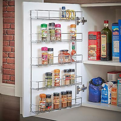 40pc Chrome 5 Tier Spice Rack Jar Holder for Wall or Kitchen Cupboard