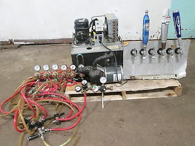 """GLAS TENDER"" COMMERCIAL H.D. DRAFT PRO BEER LINE CHILLER w/6 TAPPERS & SPIGOTS"