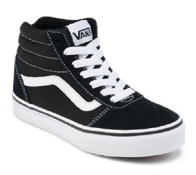 Boy's Youth VANS WARD HI Black/White Athletic/Casual Skate Sneakers/Shoes NEW