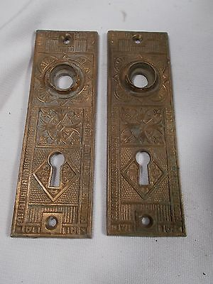 Antique Cast Brass Victorian East Lake Doorknob Door Knob Back Plates c1880s