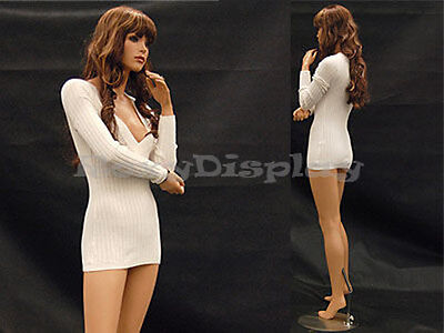 Female Fiberglass Mannequin Pretty Face Elegant Pose Dress From Display #FR10-MD