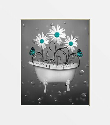Turquoise Bathroom Wall Art, Daisy Flowers, Bubbles Turquosie Home Decor Picture