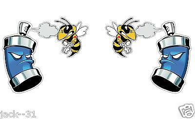 "2 Funny Killer Bee Sprayed Skidoo Ski-Doo Decal Sticker Graphic 6X6"" Each"