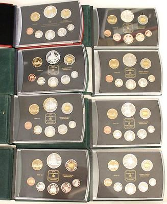 8x Royal Canadian Mint Canada Silver Double Dollar Proof Coin Sets 1998 to 2005