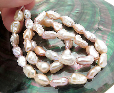 STUNNING AA+ FRESHWATER KEISHI PEARLS IRIDESCENT PEACH PINK COLORFUL 16inch
