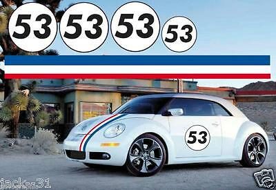 BEETLE HERBIE LOVE BUG DECAL STICKER KIT + Side Stripes Included Bonnet & boot