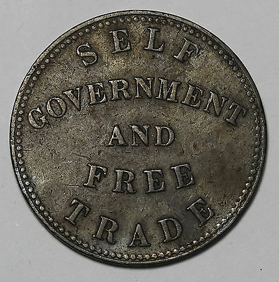 1855 Prince Edward Islands Canada Halfpenny Token  Self Government & Free Trade