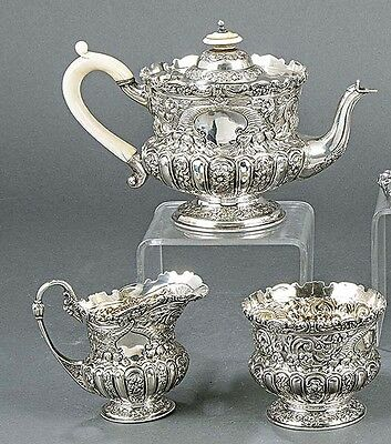 710g HIGH class COLLECTION 3 PIECES TEA set  LONDON STERLING SILVER JW&FC
