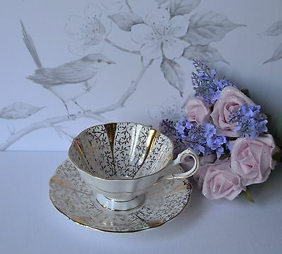 GOLD LACE - TEA CUP SAUCER, TEACUP SET, BY QUEEN ANNE, bone china, England
