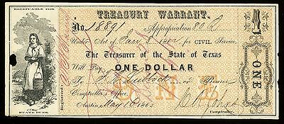 Texas $1 C.S.A.  CIVIL Treasury Warrant  State of Texas 80Q May 16,1862