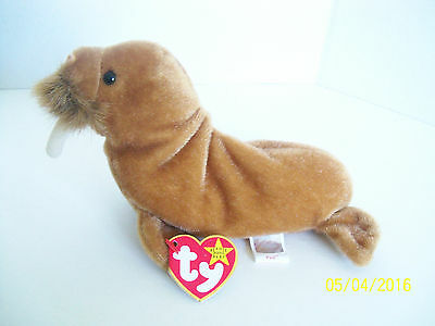 Plush Brown Walrus Marine Animal PAUL Ty Beanie Stuffed Toy 1999 all tags