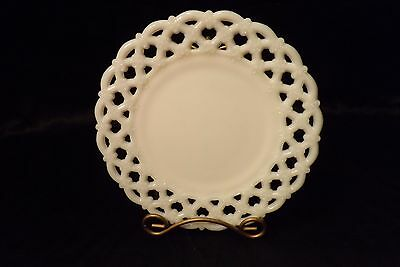 "Westmoreland Milk Glass Forget Me Not 8 1/2"" Luncheon Plate Open Lace Lattice"