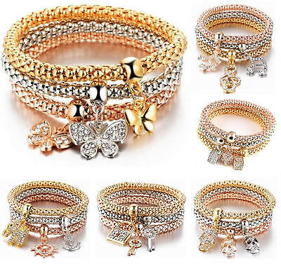 Women Girl Rhinestone Charm Bangle Bracelet Wristband Fashion Jewelry Band Strap