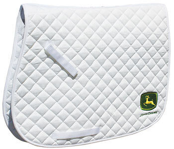 Horse Quilted ENGLISH SADDLE PAD Professional's Choice John Deere White 7267