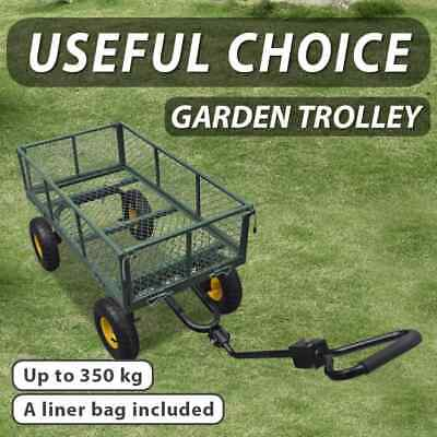 New 350kg Garden Cart Trolley Folding Handle Mesh Sides Bag Farm Wagon Trailer
