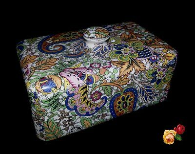 Vintage Blue Paisley Chintz China Butter Cheese Dish Cover Top Floral