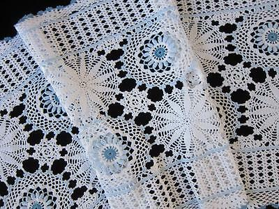 Retro Vintage Table Runner Blue & White Crochet Medallions