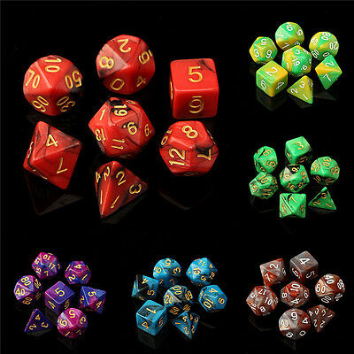 7pc/Set D4-D20 TRPG Gaming Dices Multi-sided Dices Acrylic Double Color Dice Toy