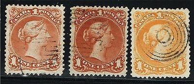Canada Large Queen #22 X2 #23 All Vf, Gorgeous Colours! (Aym1