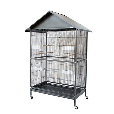 Large Parrot Cockatiel Parakeets Canary Finch Bird Cage with Roof Aviary