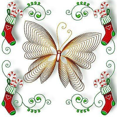 Christmas Butterflies 10 Machine Embroidery Designs Cd 4 Sizes