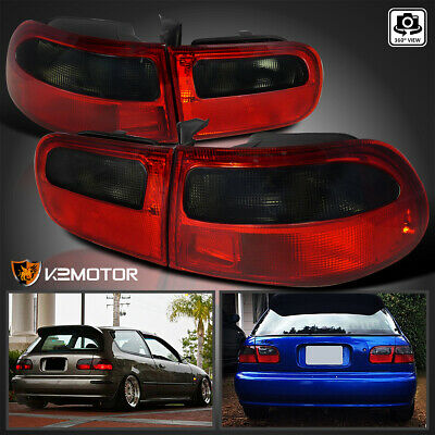 For 92-95 Honda Civic 3Dr Hatchback EG EH EJ Red/Smoke Rear Brake Tail Lights