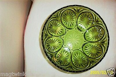 Anchor Hocking Forest Green Glass Star Salad Serving Bowl MEDALLION Cameo #1459