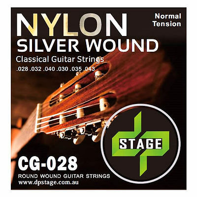 Classical Guitar Strings Nylon Silver Wound Normal Tension 1x Set DP Stage CG028