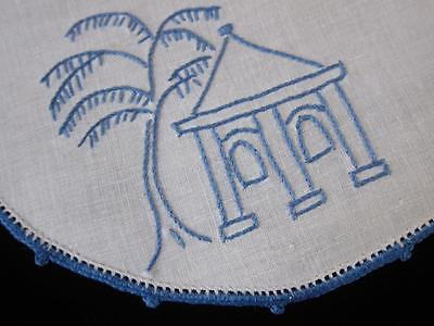 Vintage Doily Blue Willow Hand Embroidered Linen